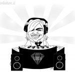 karikatura slovenske glasbenice DJ Luxia