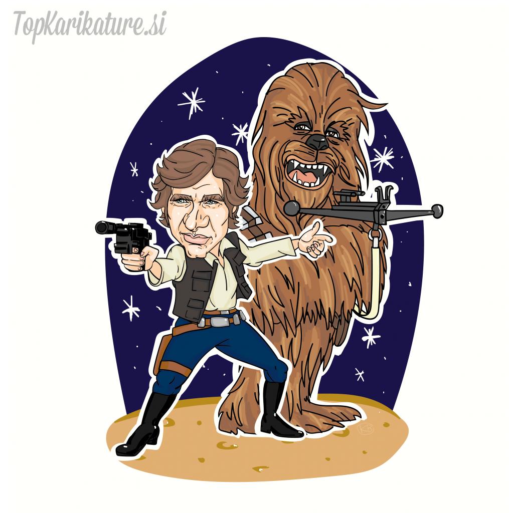 Karikature Han Solo in Chewbacca