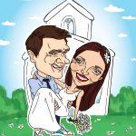 Karikatura dveh oseb za poročno darilo