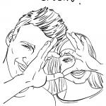 risani poročni portret - top karikature