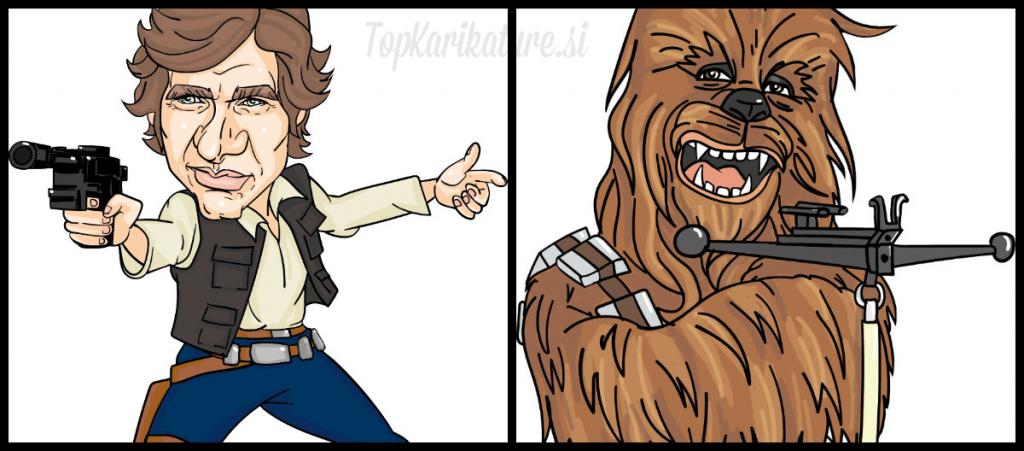 Han Solo in Chewbacca Karikatura