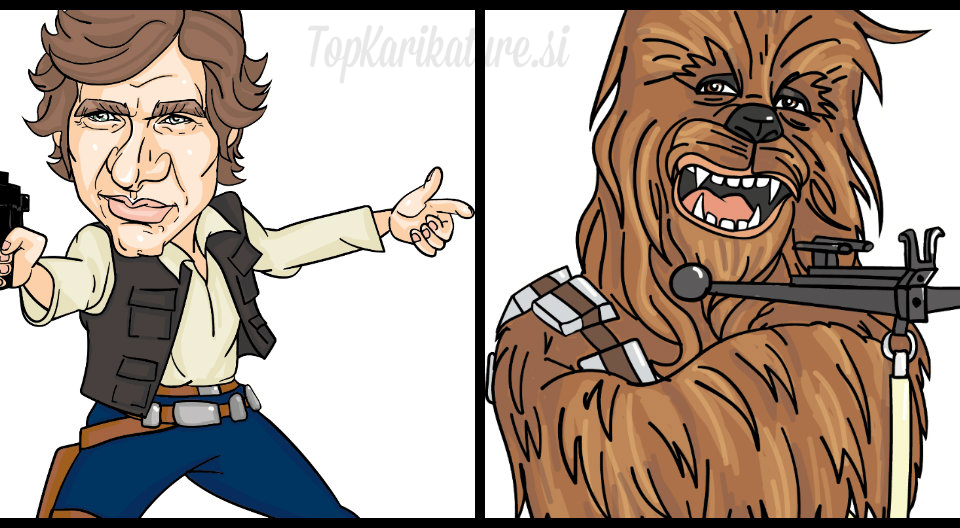 Del risbe karikature Han Solo in Chewbacca