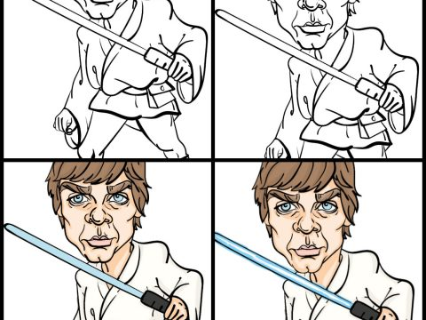 Postopek risanja karikature Luke Skywalker